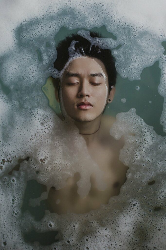 bathing, person, water